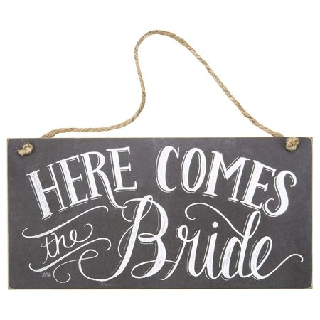 Here Comes the Bride Wood Sign with Chalk Lettering 12