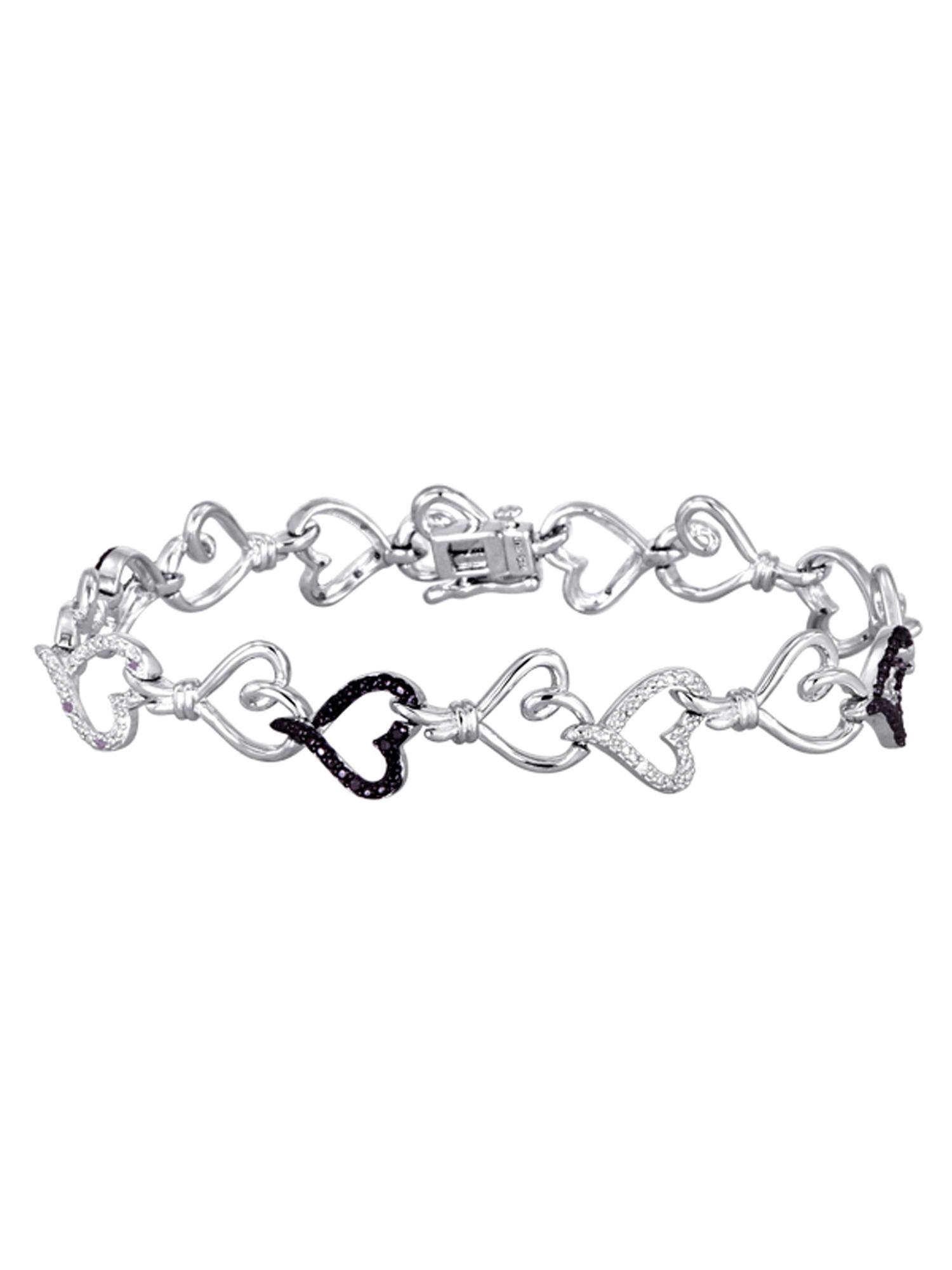 "Knots of Love Sterling Silver 1/10 Carat T.W. Black and White Diamond Heart Bracelet, 7.5"""