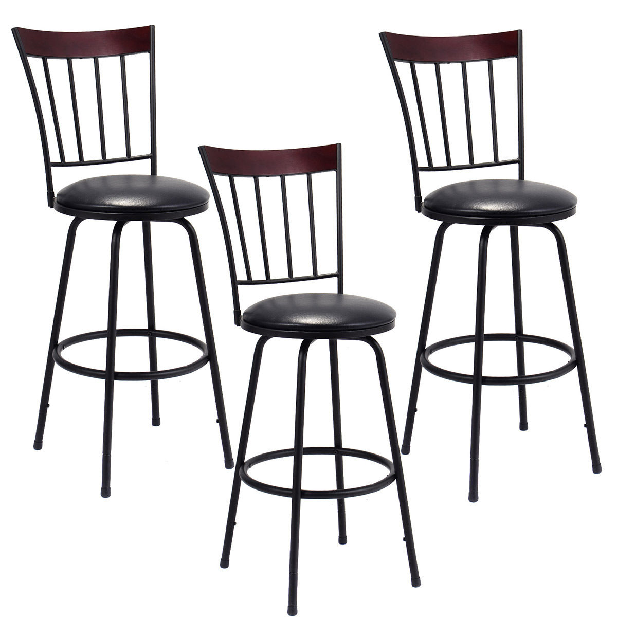 Costway Set of 3 Swivel Bar Stools PU Leather Steel Frame Bar Stool Bistro Pub Chair by Costway