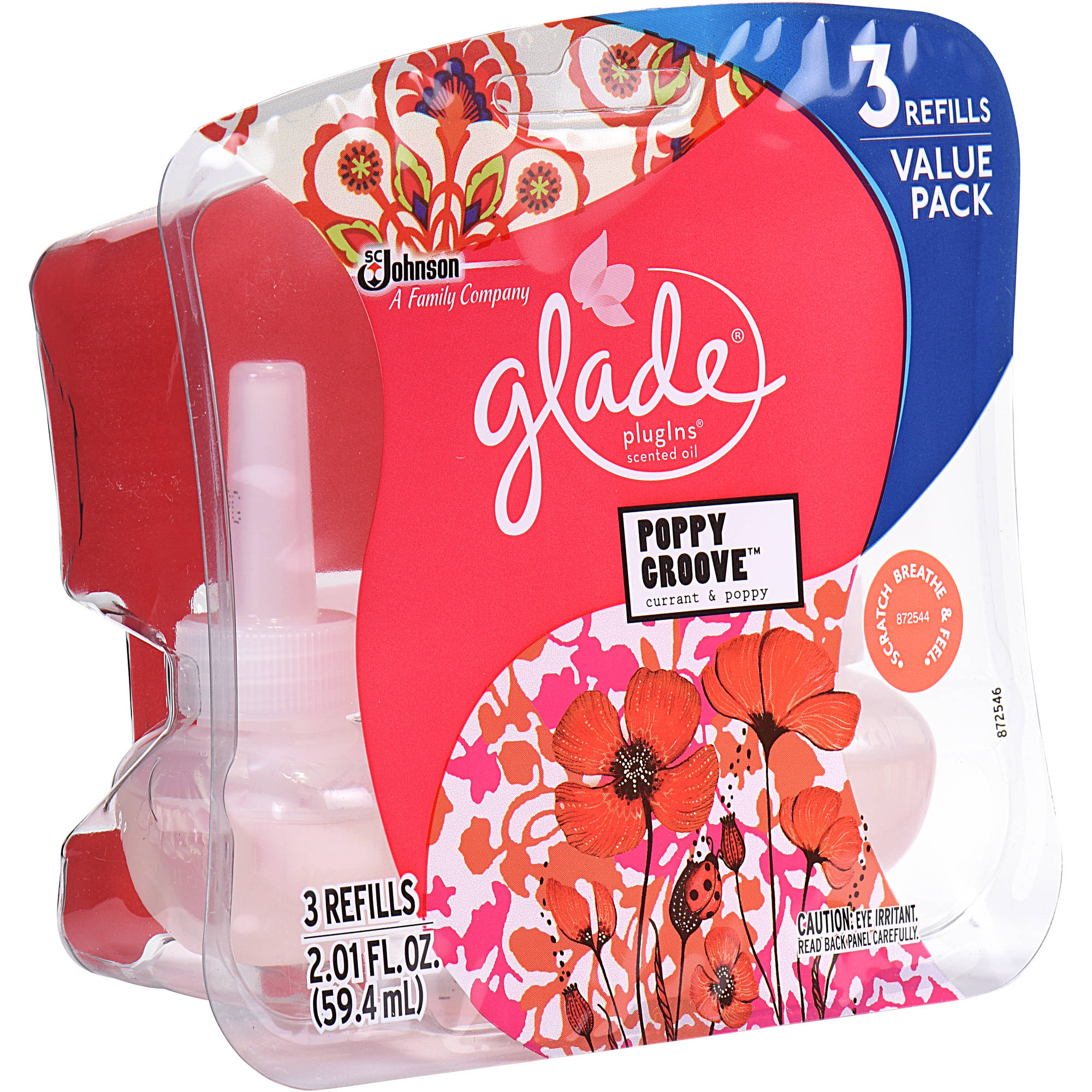 Glade Plug In Refill, Poppy Groove, 2.01 Fl. Oz. (Pack of 3)