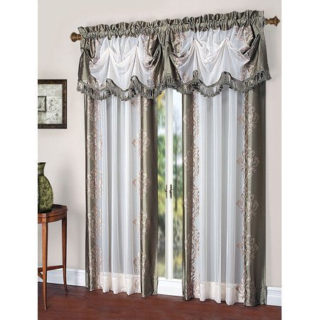 Danbury Complete Faux Silk & Embroidered Window Curtain & Valance Treatment Set - Sage Embroidered Silk Polyester
