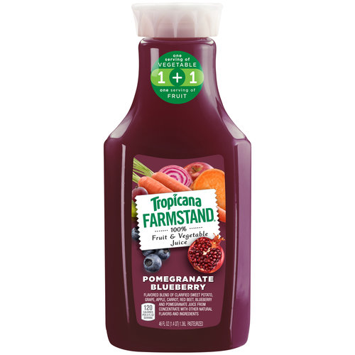 Tropicana Farmstand Pomegranate Blueberry 100% Fruit & Vegetable Juice, 46 fl oz