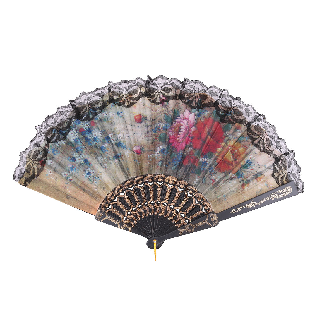 Lady Polyester Flower Print Chinese Style Dancing Hang Foldable Hand Fan Black