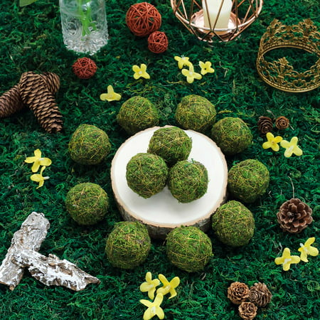 BalsaCircle 12 pcs 2-Inch Green Natural Moss Balls with Gold String Orbs Vase Filler Set Wedding Crafts Centerpieces Decorations](Vase Fillers For Halloween)