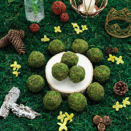 BalsaCircle 12 pcs 2-Inch Green Natural Moss Balls with Gold String Orbs Vase Filler Set Wedding Crafts Centerpieces -