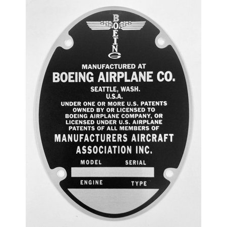 Boeing B-29 Super Fortress & B-17G Flying Fortress Data Plate  DPL-0102US