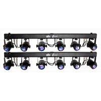 (2) CHAUVET 6SPOT 6 SPOT LED Dance Effect Stage Lights Bar Systems w/ Travel Bag