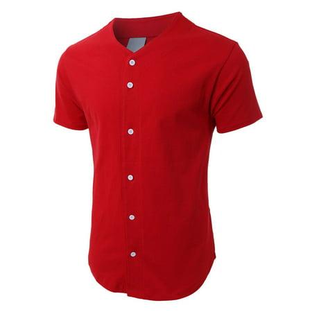 81ec6103 Men's Baseball Plain Button Down Jersey Short Sleeve Atheletic Sports Tee -  Walmart.com
