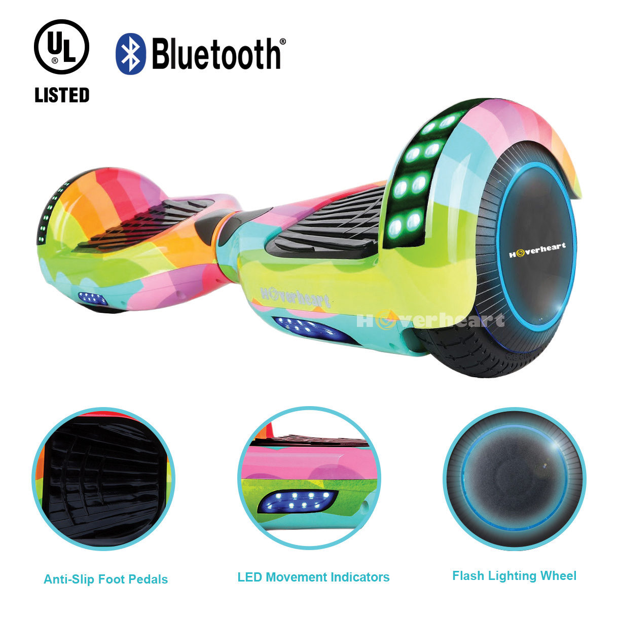 "UL2272 Certified Bluetooth 6.5"" Hoverboard Two Wheel Self Balancing Scooter Rainbow Wave"