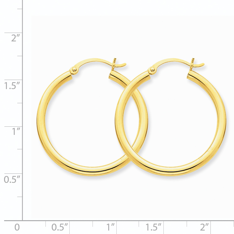 10K Yellow Gold Polished 2.5mm Round Hoop Earrings - image 1 of 4
