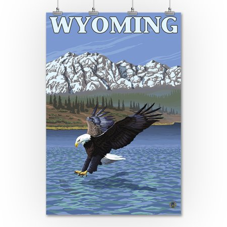 Bald Eagle Diving - Wyoming - LP Original Poster (36x54 Giclee Gallery Print, Wall Decor Travel Poster)