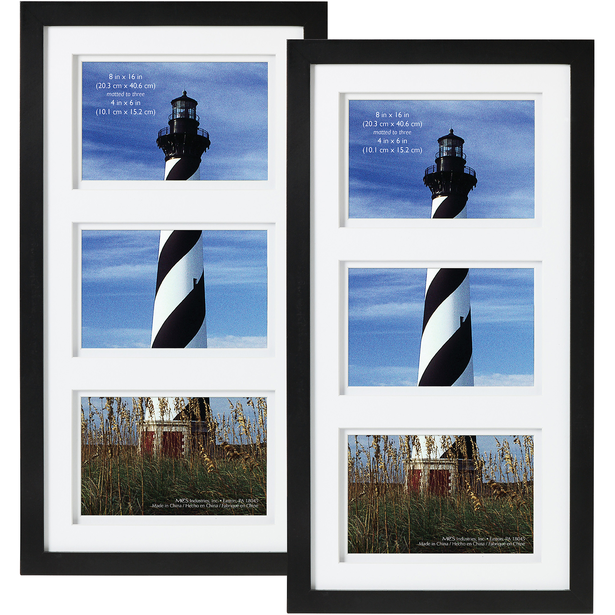 """Black Gallery 3 Open 4""""x6"""" collage Frame, set of 2"""