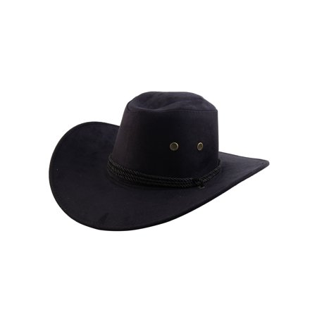 Unisex Faux Suede Adjustable Neck Strap Western Style Sunhat Cowboy Hat Black