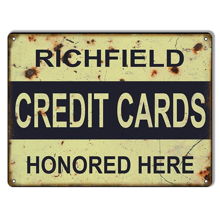 Aged Looking Richfield Credit Cards  Gas Station Sign 9 X12   Csrg7396