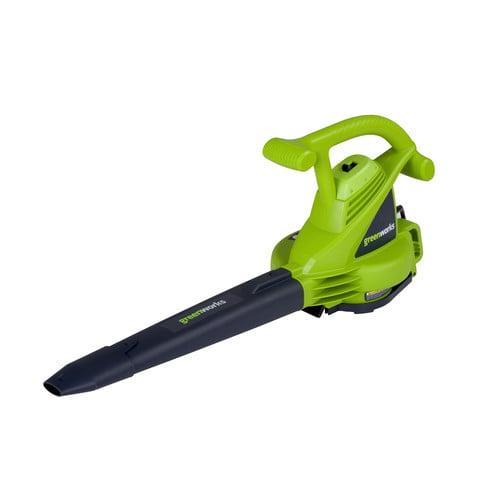 Greenworks 12 amp Magnesium Impellor Electric Leaf Blower/Vac, Green