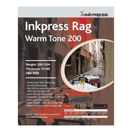 Inkpress Rag Warm Tone Inkjet - Rag, Warm Tone Double Sided, Cream White Matte Inkjet Paper, 15 mil., 200gsm, 8x10 , 25 Sheets