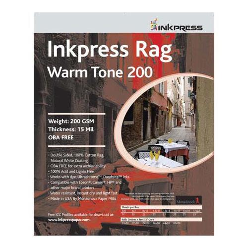 Rag, Warm Tone Double Sided, Cream White Matte Inkjet Paper, 15 mil., 200gsm, 8x10 , 25 Sheets