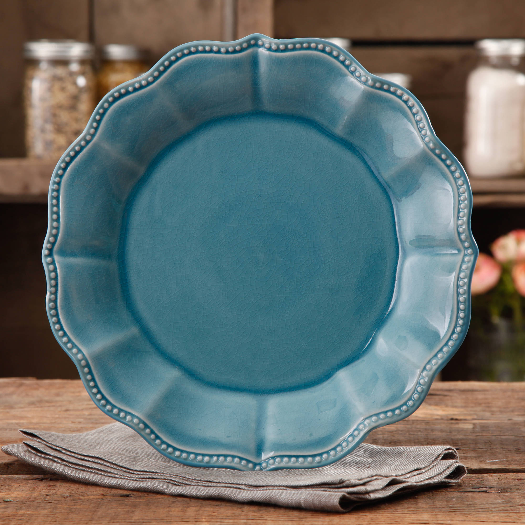 & The Pioneer Woman Paige Crackle Glaze Dinner Plate Linen - Walmart.com