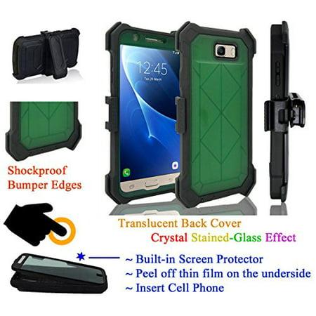 for Samsung J7 2017 Sky Pro PERX J7 V case Phone Case 360° Cover Screen Protector Clip Crystal Holster Kick Stand Armor Shock Bumper Green - Walmart.com