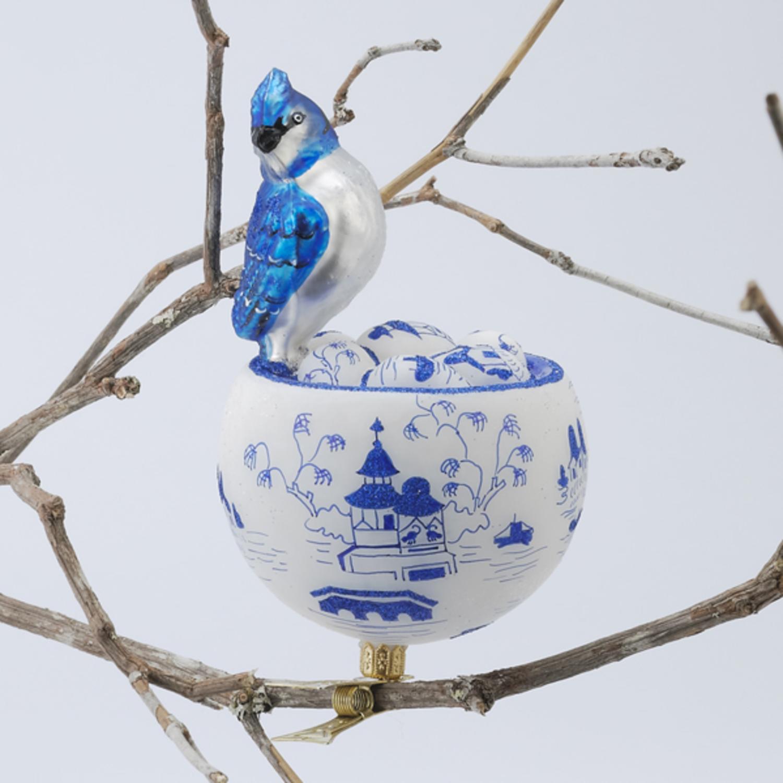 "David Strand Designs Glass Blue Jay in Birds Nest Clip On Christmas Ornament 6"""