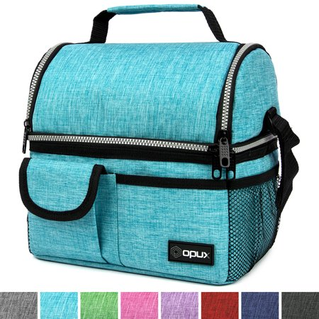 OPUX Insulated Dual Compartment Lunch Bag for Men, Women | Double Deck Reusable Lunch Pail Cooler Bag with Shoulder Strap, Soft Leakproof Liner | Large Lunch Box Tote for Work, School