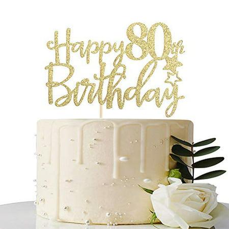 Cool Maicaiffe Gold Glitter Happy 80Th Birthday Cake Topper Hello 80 Funny Birthday Cards Online Alyptdamsfinfo