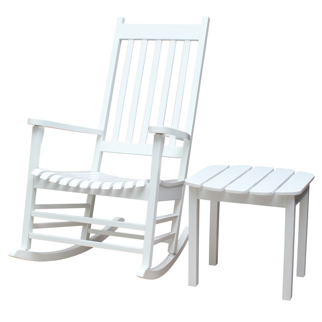Porch Rocker with Side Table in White