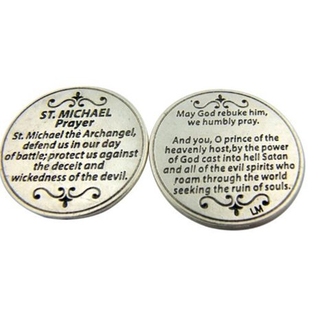 - Silver Tone Saint Michael the Archangel Prayer Protect Us Pocket Token, 1 1/8 Inch