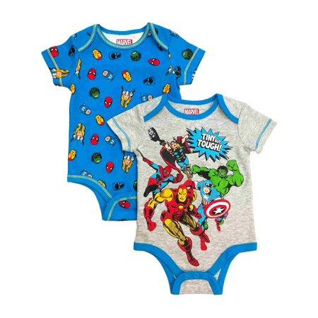 Marvel Comics Infant Boys 2pc Avengers Bodysuit Set Hulk & Thor Baby Outfit - Baby Avengers