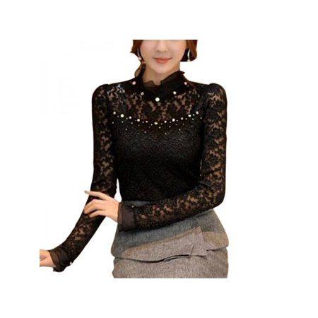 Women Chiffon Lace Long Sleeve Frill Ruffle High Neck -
