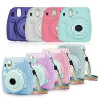 TSV Camera Case Bag Compatible for Fujifilm Instax Mini 9 Instant Camera, also for Fujifilm Instax Mini 8/8+ Instant Film Camera with Rainbow Shoulder Strap - Shining Transparent Case
