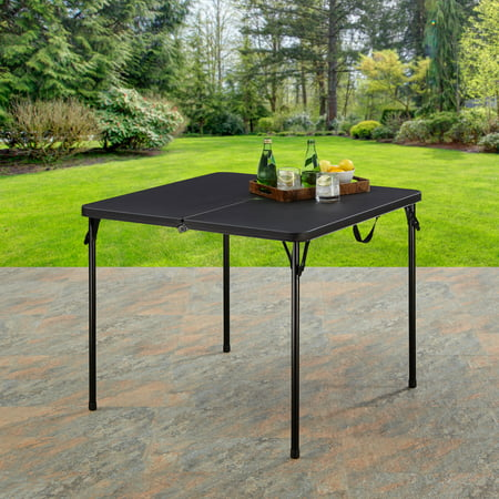 "Mainstays 34"" Resin Plastic Top Fold-in-Half Table, Rich Black"
