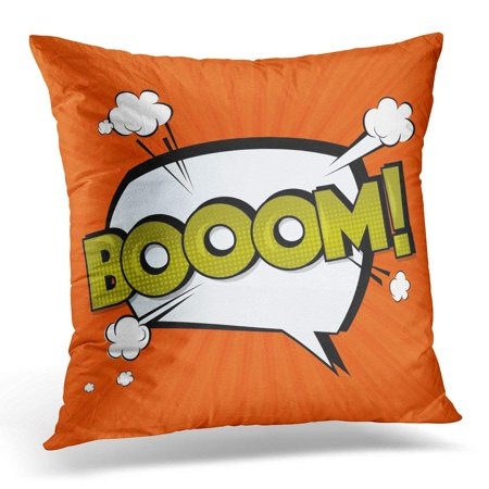 ARHOME Boom Comic Cloud Funny Pop Tag Lettering Bomb Text Sound Effects Bubble Speech Phrase Cartoon Exclusive Pillow Case Pillow Cover 18x18 inch