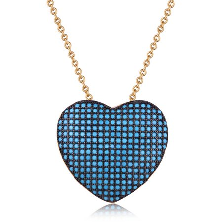 18kt Gold Plated Brass & Genuine Turquoise Heart Pendant Necklace