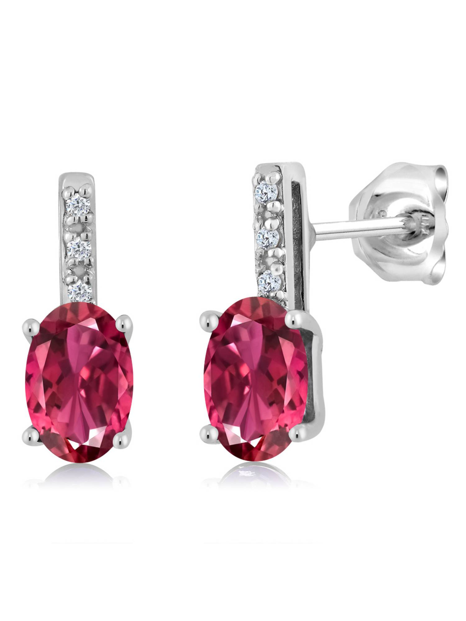 0.76 Ct Oval 6x4mm Pink Tourmaline AAA 10K White Gold Stud Diamond Earrings by
