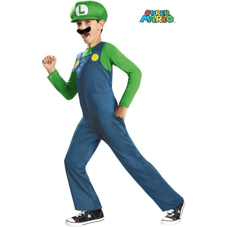 Child Super Mario Bros Luigi Costume - Mario And Luigi Costumes Womens