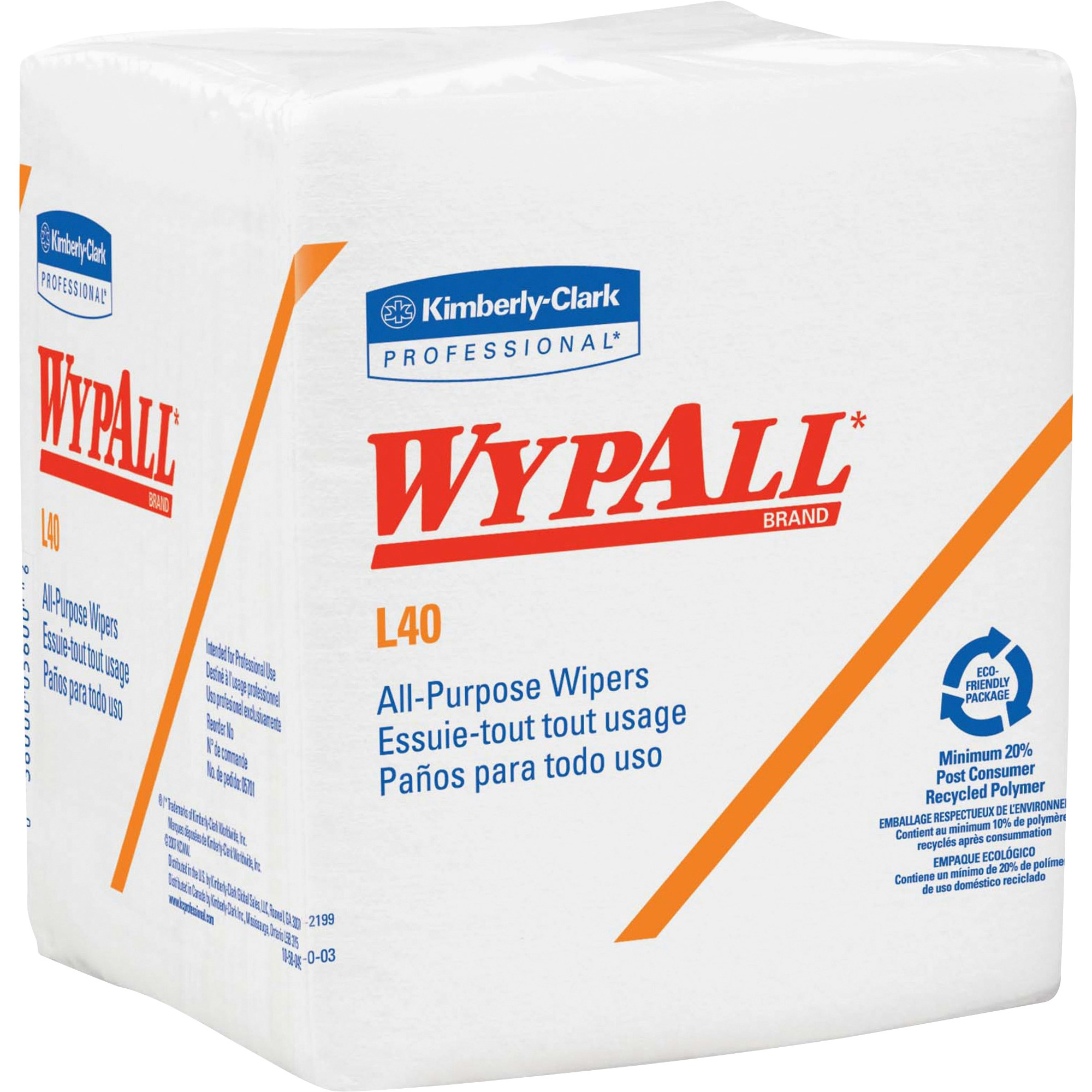 Wypall, KCC05701CT, L40 All-Purpose Wipers, 18 / Carton, White