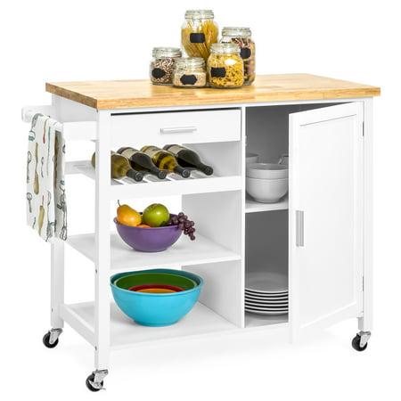 Dark Wood Finish Kitchen Island (Best Choice Products Portable Kitchen Island Cocktail Cart for Serving, Storage, Decor w/ Wood Top, Wine Shelf, Cabinet, Drawer, Towel Rack - White)