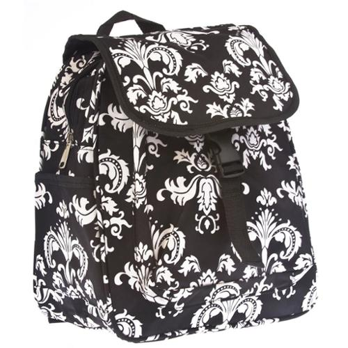 """NEW Women 13"""" inch Black/White Damask School Travel Shoulder Laptop Backpack Bag"""