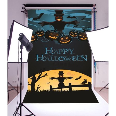 Halloween Grimas (GreenDecor Polyster Backdrop 5x7ft Photography Background Scarecrow Grimace Pumpkin Bats Horrible Night Happy Halloween Background Backdrop for Video Photo Studio)
