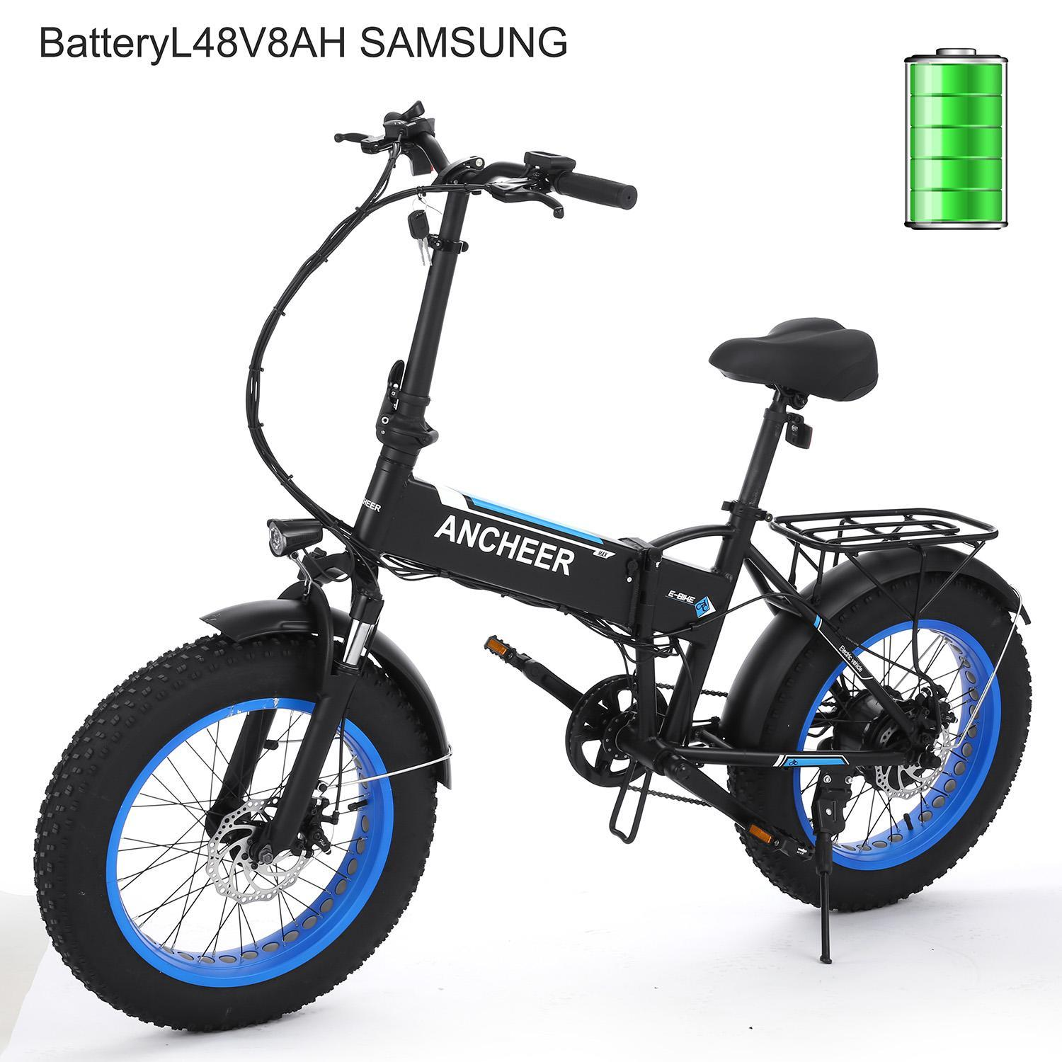 Electric Mountain Bike Fat Tire Folding Bicycle Beach Snow 250W Motor 48V 8AH Battery 6 Speeds by