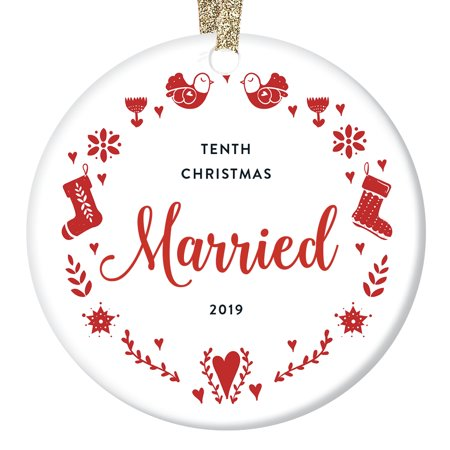 Best Holidays For Couples (10th Christmas Married Milestone Keepsake Ornament 2019 Decade Together Dated Wedding Anniversary Gift Couple Best Friends Quaint Embroidery Pattern & Script 3