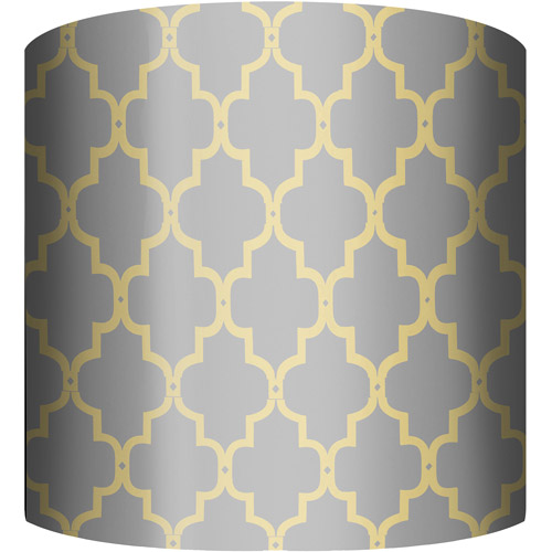 "10"" Drum Lamp Shade, Fence Yellow and Gray"