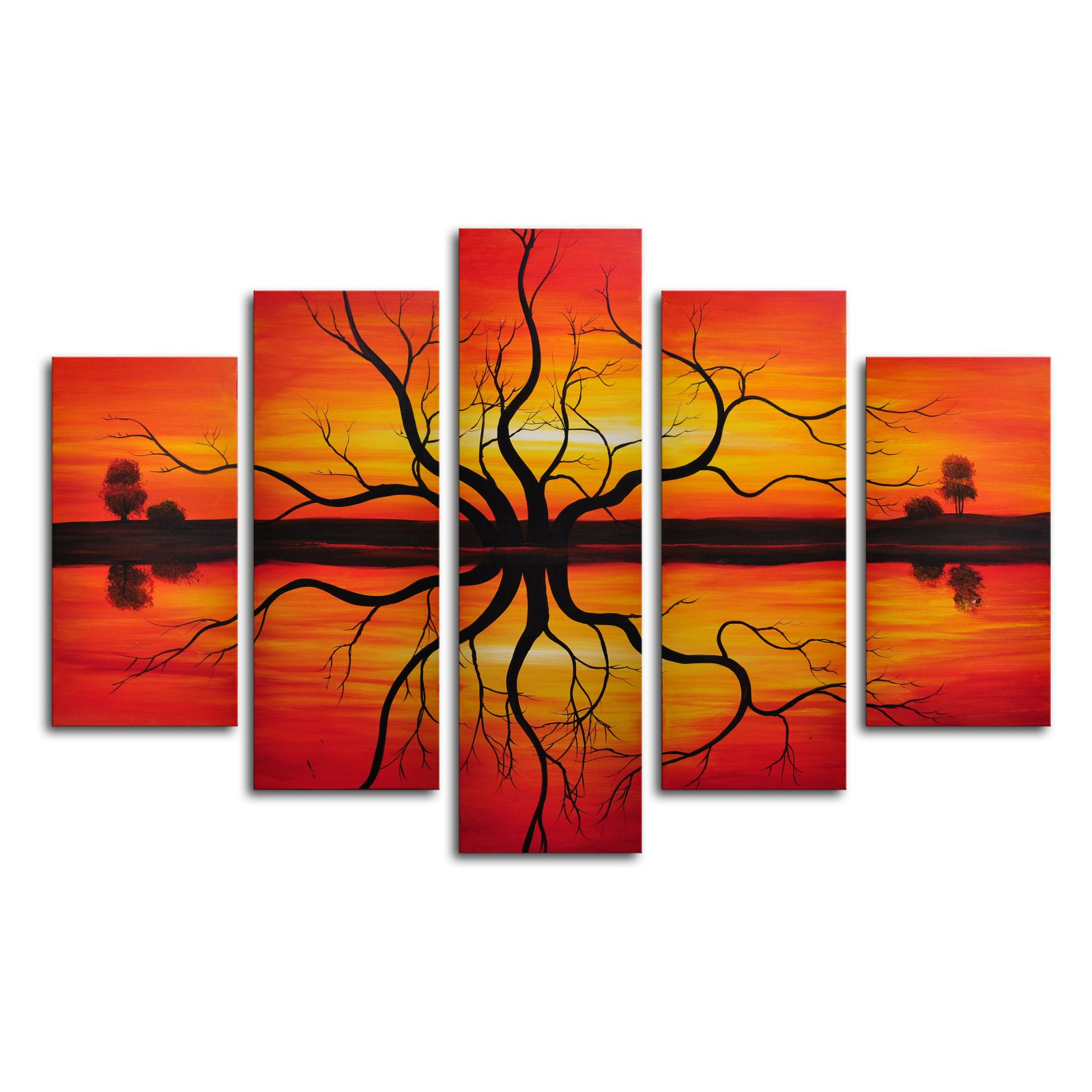 Sunset Reflection 5-Piece Canvas Wall Art - 60W x 40H in.