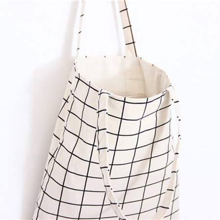 Fresh Simple Cotton Linen Plaid Canvas Bag With Zipper Tote Bag Shopping Bag - image 7 of 8