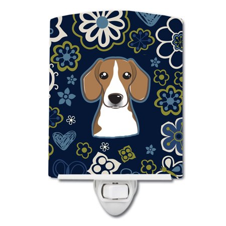 Blue Flowers Beagle Ceramic Night Light