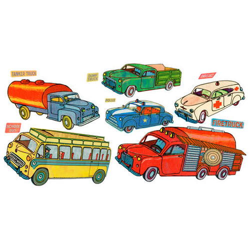 Wallies Antique Trucks Wall Decal