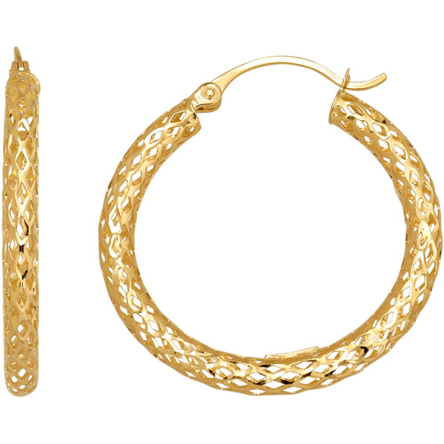 "Simply Gold 14kt Yellow Gold 1"" Glitter Mesh Hoop Earrings"