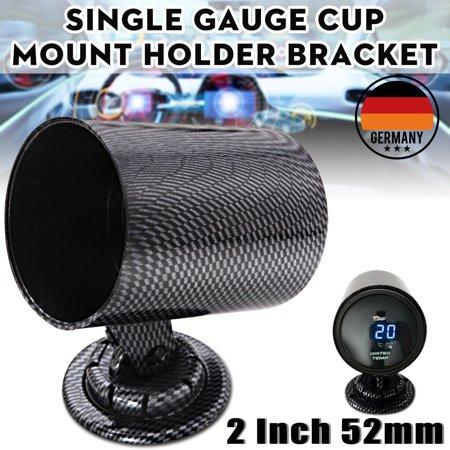 - 2''/52mm Universal Carbon Fiber Car Single Hole Gauge Meter Pod Mount Cup Holder Bracket