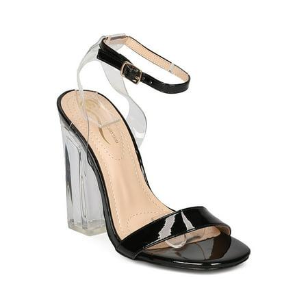 Women Lucite Block Heel Sandal - Dressy, Wedding, Costume - Chunky Heel Pump - GD45 By - Chubby Costume
